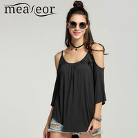 Meaneor Casual tee top  Women Striped Off Shoulder Hole Sexy Vest Tops 3/4 Flare Sleeve plus size Irregular Tunic Top Camisole