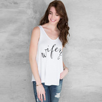 "White Sleeveless ""Wifey"" Letter Print T-Shirt"