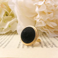 Vintage Button Ring- Black Velvet and Gold by Reneeloveandco