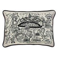 Boston Black and White Embroidered Pillow