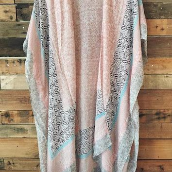 Batik Boho Kimono Robe Cover-Up - Blush