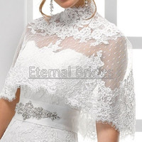 high neckline chic lace applique wedding dress bolero zipper back covered buttons