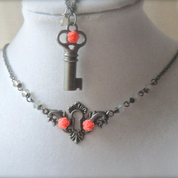 Chastity Heart Steam Punk Locket Key Jewelry set Swarovski crystals Coral Melon Rose cabochon Opal wrapped Necklace Bracelet Charm Metalwork