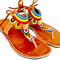 Multicolored Maasai sandals beaded fair trade Kenya women's shoes handmade leather summer fashion hipster hippie bohemian
