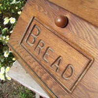 BreadBox Large Wood Bread box Hand Craft Letters Vintage