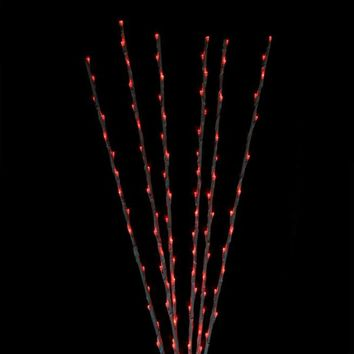 Set of 6 Enchanted Garden LED Red Lighted Branch Spray Driveway Pathway Markers - 4'