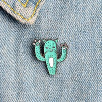 Cartoon Funny Cactus Plant Kitten Cat Brooch Button Pins Hat T-shirt Denim Jacket Collar Lapel Pin Badge Fashion Animal Jewelry