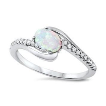 Sterling Silver Oval and Side Stones Channel Ring 9MM White Lab Opal