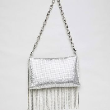 ASOS DESIGN 90s chainmail fringe shoulder bag with detachable strap at asos.com