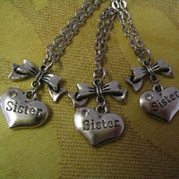 Three Sister Heart Necklaces with Bow for by AccentTreasures