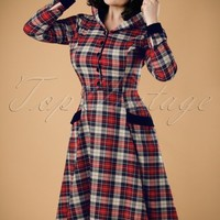 50s Ruby Sherwood Check Hooded Swing Dress in Red and Navy