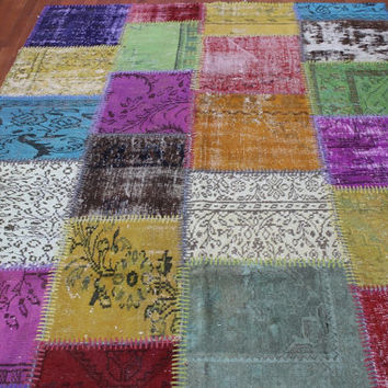 Overdyed Handmade Turkish Patchwork Carpet Multicolour  - Vintage Overdyed Turkish Rug- (170X237 cm)(5,5 ft X 7,8 ft)