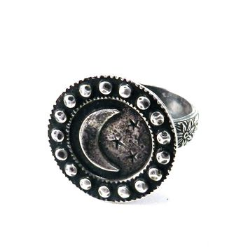 LARGE MOON Antique Button Statement Ring - SILVER
