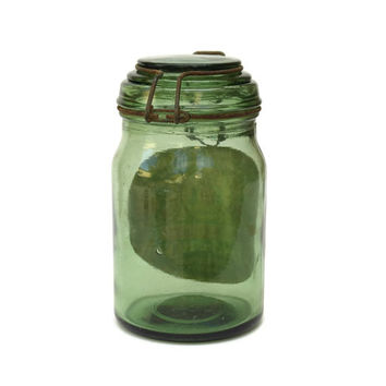 French Green Glass Canning Jar.  Vintage French Mason Jar. Glass Preserving Bottle.