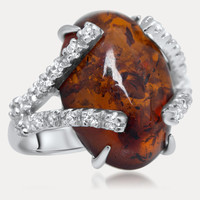 925 Silver Ring with Brown Amber