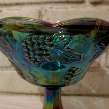 Vintage Indiana Depression/Carnival Glass Pedestal Comport Compote Bowl Blue Harvest Grape
