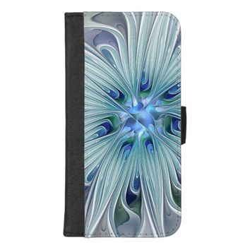 Floral Beauty Abstract Modern Blue Pastel Flower iPhone 8/7 Plus Wallet Case
