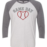 Baseball Game day Love  3/4 sleeve baseball tee