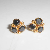 14K Black Spinel Pierced Two Way Dangle Earrings Yellow Gold Studs Fine Jewelry Gift For Her