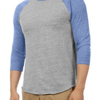 LE3NO Mens Soft Triblend 3/4 Raglan Sleeve Baseball T Shirt