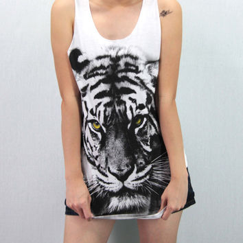 Tiger White Shirt Women Animal Shirt Softly/Lightly Tank Top TShirt Top Unisex - silk screen handmade