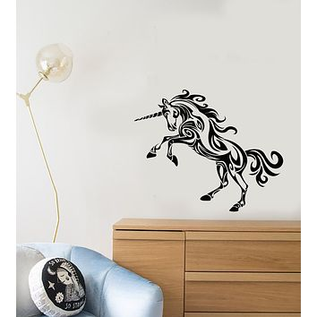 Vinyl Wall Decal Abstract Unicorn Fairy Magic Children's Room Decor Stickers (3711ig)