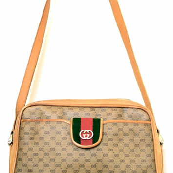 On SALE Gucci Purse: 80s Gucci Purse / Vintage Gucci Purse / Gucci Crossbody / Gucci British Tan Purse / 1980s Gucci Purse / Gucci Monogram