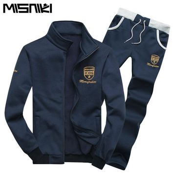 MISNIKI Fashion Men's Solid Color 2PC Athleisure Sweatsuit