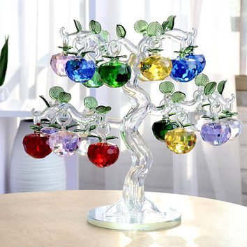 Tree Hanging Cut Crystal Glass Apple Ornaments Home Decorations