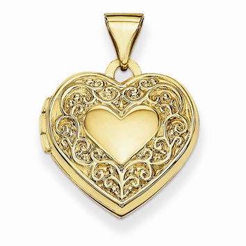 14k Yellow Gold Scroll Heart Locket