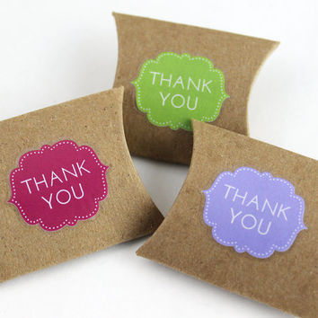 """Thank You Stickers in assorted colors - 48 cute clear die-cut decals, envelope seals, wedding favor stickers - 1.125"""" x 1"""""""