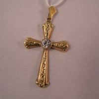 18k Yellow Gold Cross with Synthetic White Sapphire - Free 9k Yellow Gold Chain