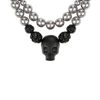 Black Skull Metallic Bead Layered Necklace