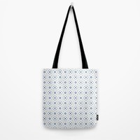 Acrylic Blue Square Dots Tote Bag by Doucette Designs