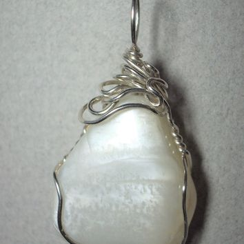 Moonstone Pendant Wire Wrapped .925 Sterling Silver