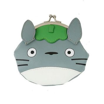 "Licensed cool Studio Ghibli My Neighbor Totoro w/ Ears Faux Leather KissLock Coin Purse 5""X4"""
