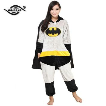 Shineye BatMan Unisex Adults Casual Flannel Hooded Pajamas
