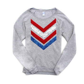 USA Sequin Chevron Sweatshirt Jumper - Red, White and Blue