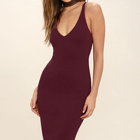 Mink Pink Magma Wine Red Bodycon Midi Dress