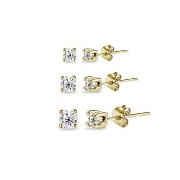 3 Pair Set Round CZ Stud Earrings in Gold Plated 925 Silver 2mm 3mm 4mm