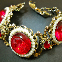 Red Victorian Revival Bracelet Book Chain Glass Carved Vintage Flowers