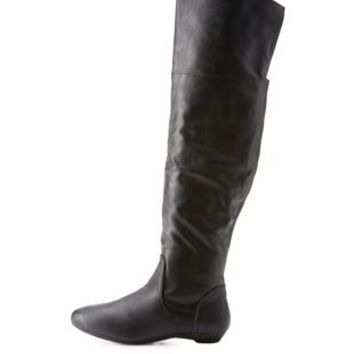 Black Bamboo Over-the-Knee Riding Boots by Bamboo at Charlotte Russe