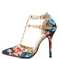 FLORAL STUDDED T-STRAP PUMPS
