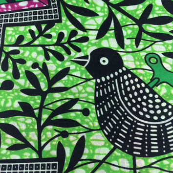 Congolese Fabric--African Wax Print Fabric--Ankara Fabric--Wind Up Bird--Green/Grape Wax Print Fabric--Fabric by the HALF YARD