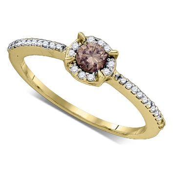 10kt Yellow Gold Womens Round Cognac-brown Color Enhanced Diamond Solitaire Bridal Wedding Engagement Ring 1/3 Cttw