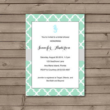 Seahorse Bridal Shower Invitations