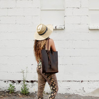 Deep Brown Chromexcel Horween vegetable tanned leather tote- The Panama Tote by Arc of a Diver
