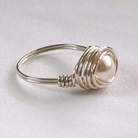 Swarovski Cream Pearl Ring, Sterling Silver Ring, Wire Wrapped Ring Handmade, Wired Ring, Womens Ring