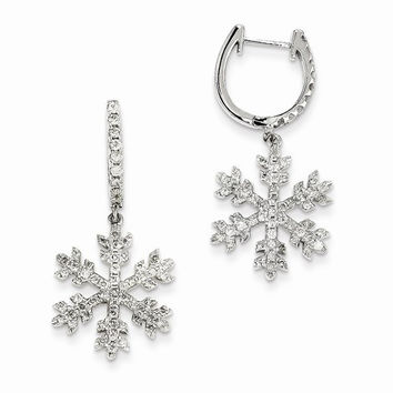 14k White Gold Polished Diamond Snowflake Earrings