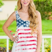 American Flag Graphic Tank-Ivory - NEW ARRIVALS